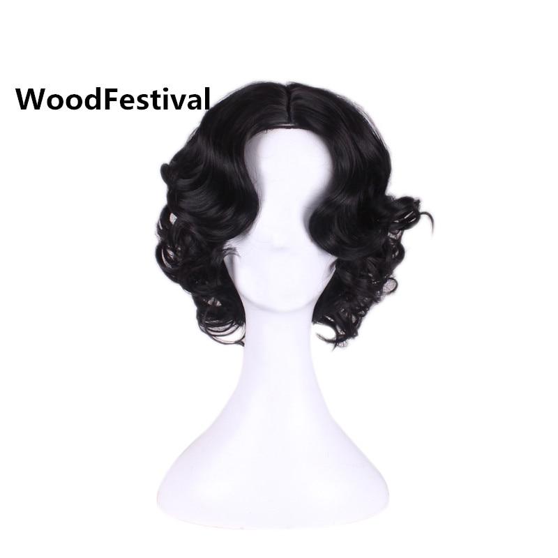 WoodFestival Принцесса Белоснежка белый парик для косплея короткие кудрявые женские термостойкие синтетические парики Черный блонд коричневый