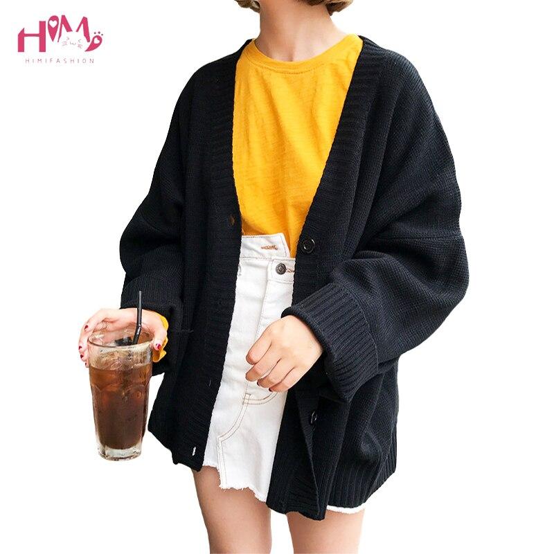 Suéteres coreanos de Otoño de la vendimia Cardigans para las mujeres 2018 prendas de punto de invierno de moda sólida delgada femenina de manga larga abrigos sueltos