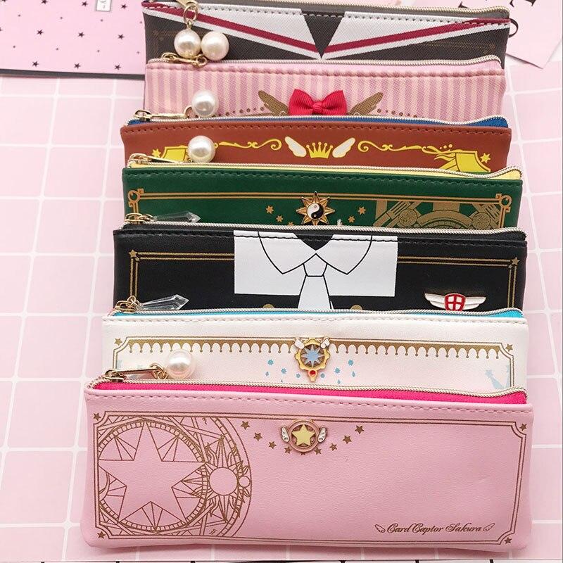 Tarjeta captor sakura cardcaptor claro tarjetas estrella lápiz caso monedero de cartera