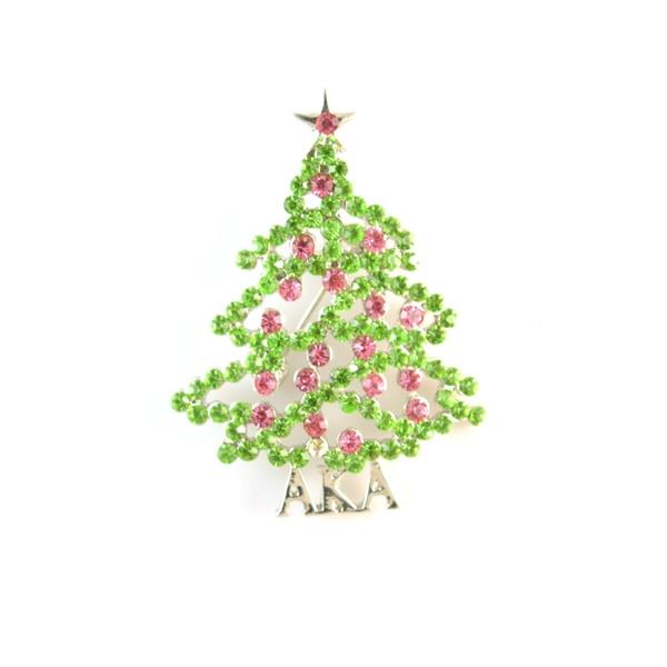 Topvesko Rhinestone AlphaKappa Alpha broche con perlas Aka árbol de Navidad Rosa verde solapa Pin