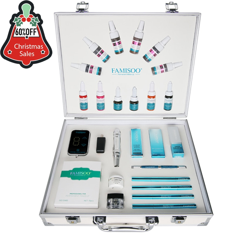 Christmas sales Famisoo Pigment DHL Free Shipping Complete Permanent Makeup Tattoo Rotary Machine Kit For Eyebrow Lip Eyeliner