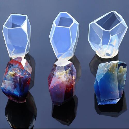 3 estilos de abalorios de piedra grande, molde de silicona para decoración de joyería, molde de silicona de resina, herramienta hecha a mano DIY Moldes de resina epoxi