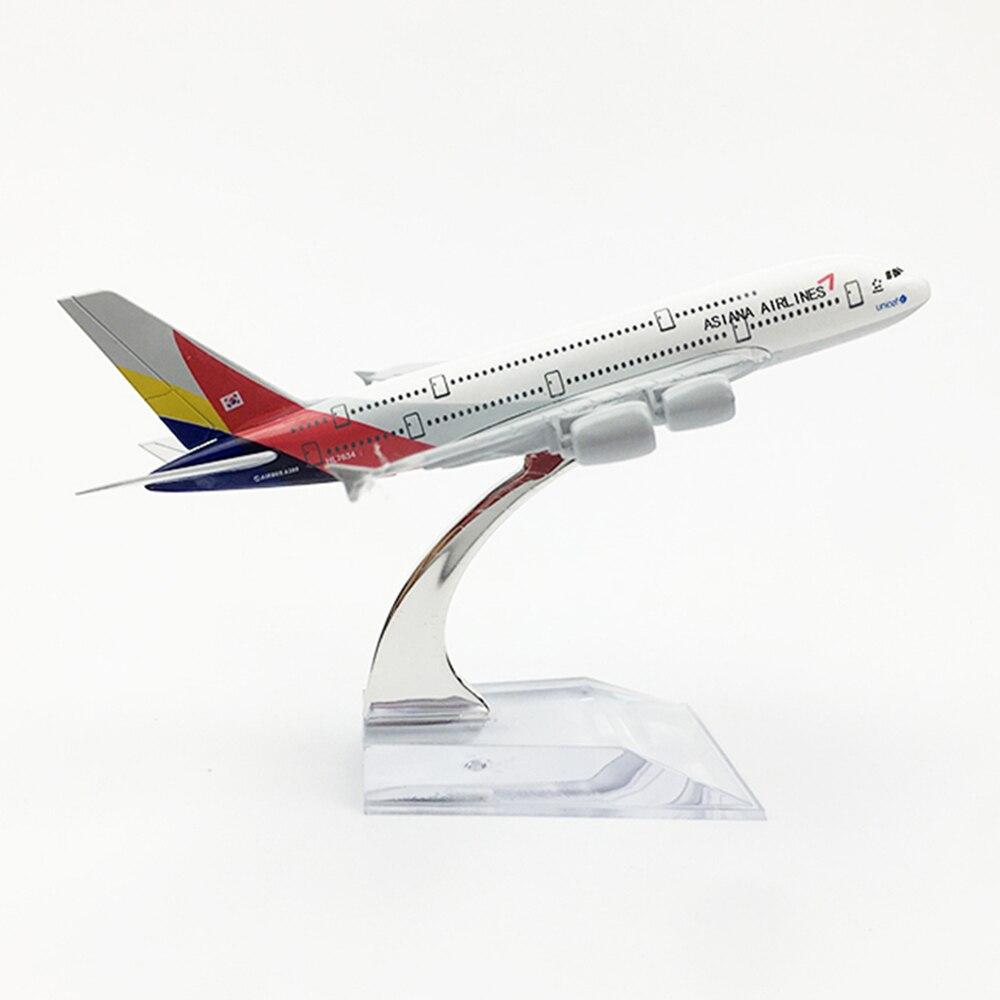 Avión a escala 1/400 Airbus A380 Asiana Airlines 16cm modelo plano de aleación juguetes niños regalo para colección