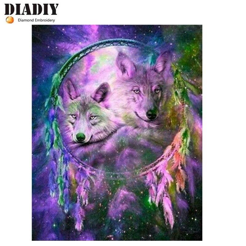 """Diamante cuadrado de taladro completo 5D DIY diamante pintura """"Dos wolfs"""" diamante bordado punto de cruz diamante mosaico pintura"""