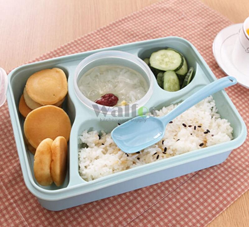 WALFOS, 5 блоков, Ланч-бокс, детский пищевой контейнер, чашка для супа, одноразовая посуда из микрофибры, Bento Lancheira, набор посуды