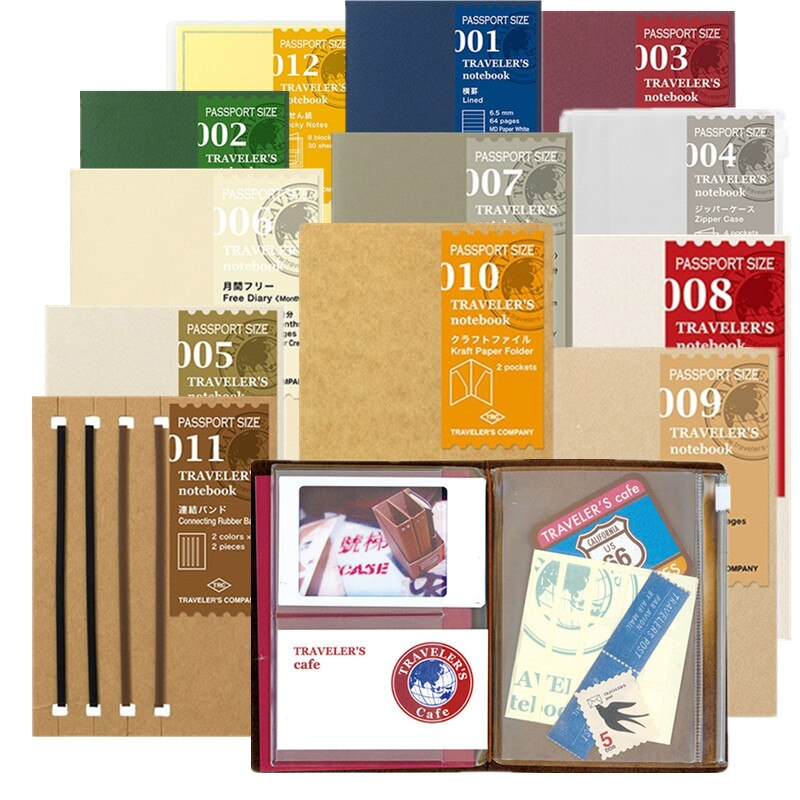 MIDORI, cuaderno de bala para viajeros, versión de pasaporte, accesorios para diario, pegatina de página interna