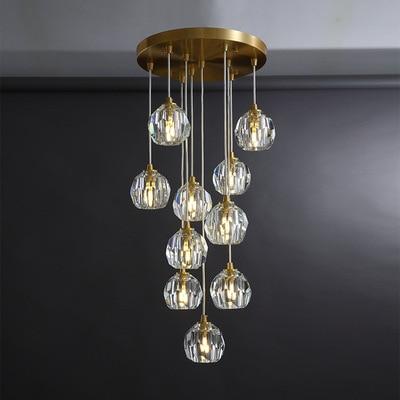 Lámpara colgante de cobre Estilo nórdico para comedor, lámpara colgante de cristal...