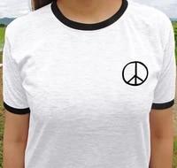 skuggnas new arrival peace sign t shirt ringer tee unisex fashion tumblr t shirts short sleeve tumblr clothing drop ship
