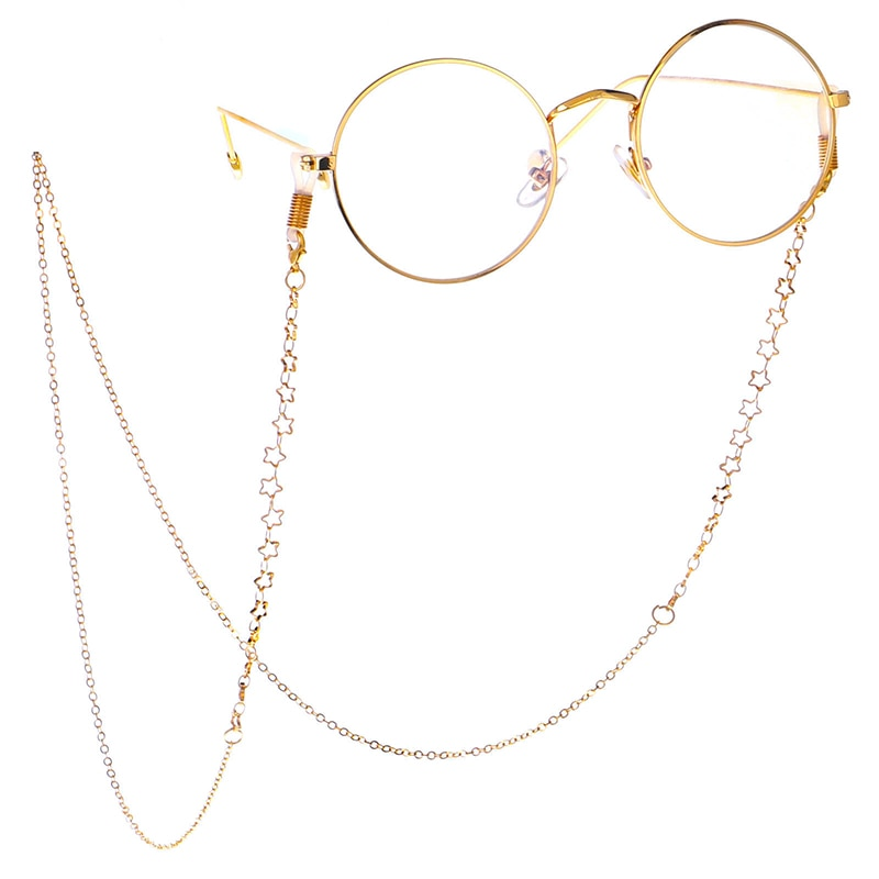 Модные очки для глаз, солнцезащитные очки, держатель на цепочке, шнур, ремешок в форме звезд, для чтения, нескользящая подвесная цепочка для ...