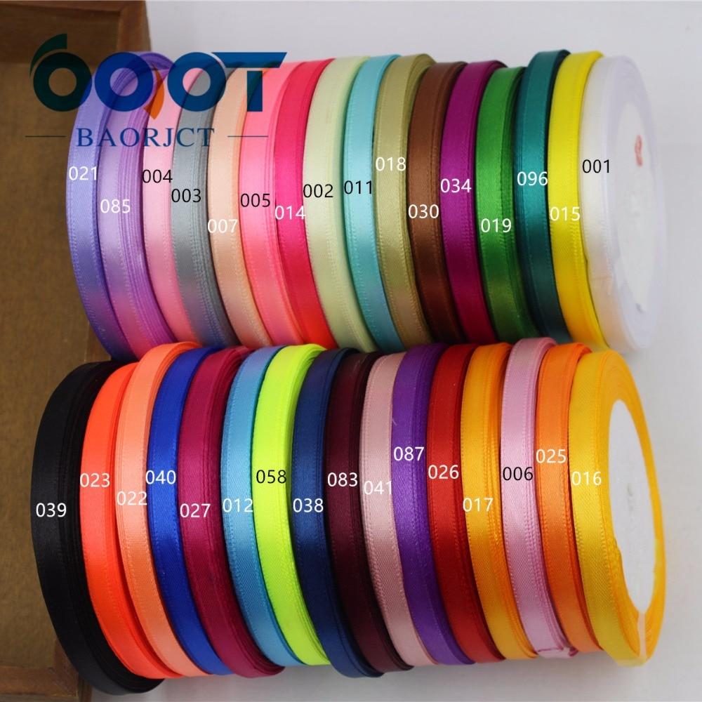 A-16691, 6mm 32 colores puede elegir 25 yardas cinta de satén de seda, cintas decorativas de boda, papel de regalo, materiales hechos a mano DIY