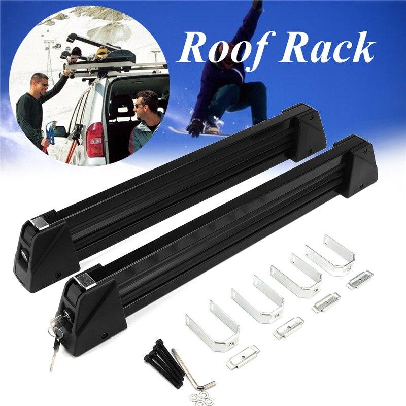 1 par de soportes de aleación de aluminio para techo de coche, portaequipajes para esquí y nieve, soporte para equipaje con cerradura montado en el techo, carga máxima 70Kg