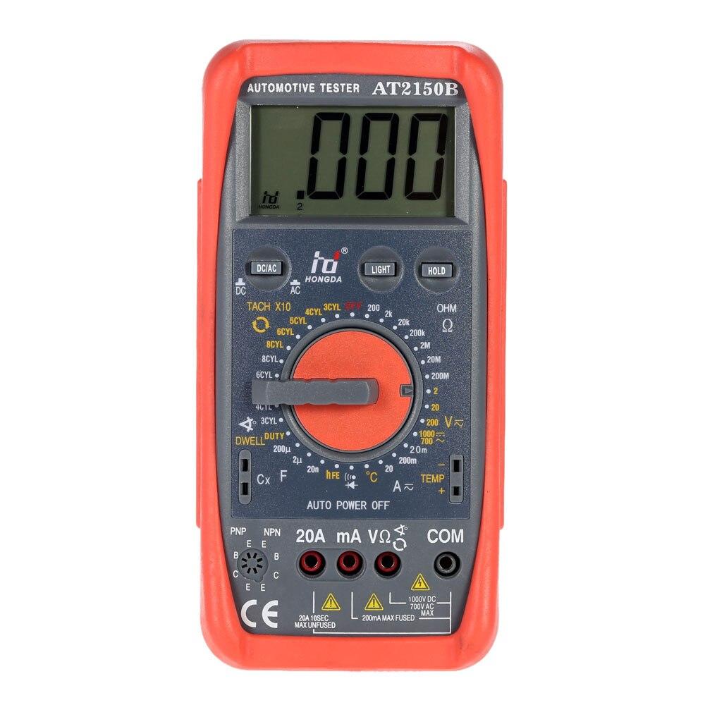 Multímetro Digital HD AT2150B probador de medidor automotriz tapa de tacómetro. Temp. Sensor de prueba con retroiluminación LCD