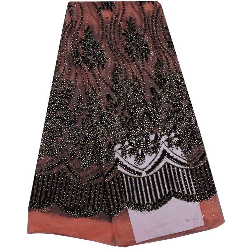 Lo último en tela de encaje de red guipure africana con muchos diamantes de imitación, tela de encaje de tul nigeriano de malla bordada, naranja + negro