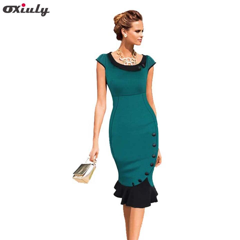 Oxiuly 2014 las mujeres más nuevas elegante de alta calidad mezcla de algodón moda mujeres sirena trompeta vestido de fiesta S-XXL