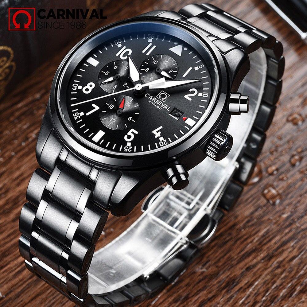 Reloj impermeable para carnaval, reloj de estilo aviador para hombres, acero inoxidable negro, relojes mecánicos automáticos con fecha, reloj masculino 40MM