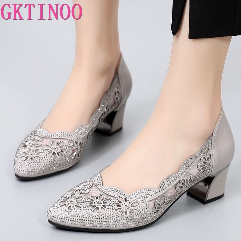 aikelinyu classics pump square heel women s pumps genuine leather purple sexy office lady shoes hollowing out women wedding shoe GKTINOO 2021 Summer Fashion Hollow Out Genuine Leather Pumps Women Shoes Med Heels Square Heel Mesh Ladies Office Shoes Crystal