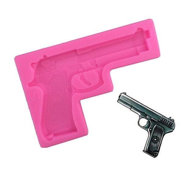 1 Uds molde de silicona juguete en forma de pistola, gelatina, chocolate, jabón, pistola DIY Decoración de Pastel para cocina molde para hornear F0643