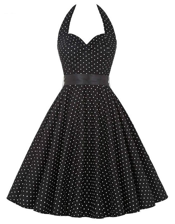 2017 Women Dress Summer Style Inspired Vintage Clothing Retro 50s Big Swing Audrey Hepburn Polka Dot Plus Size Woman Dresses