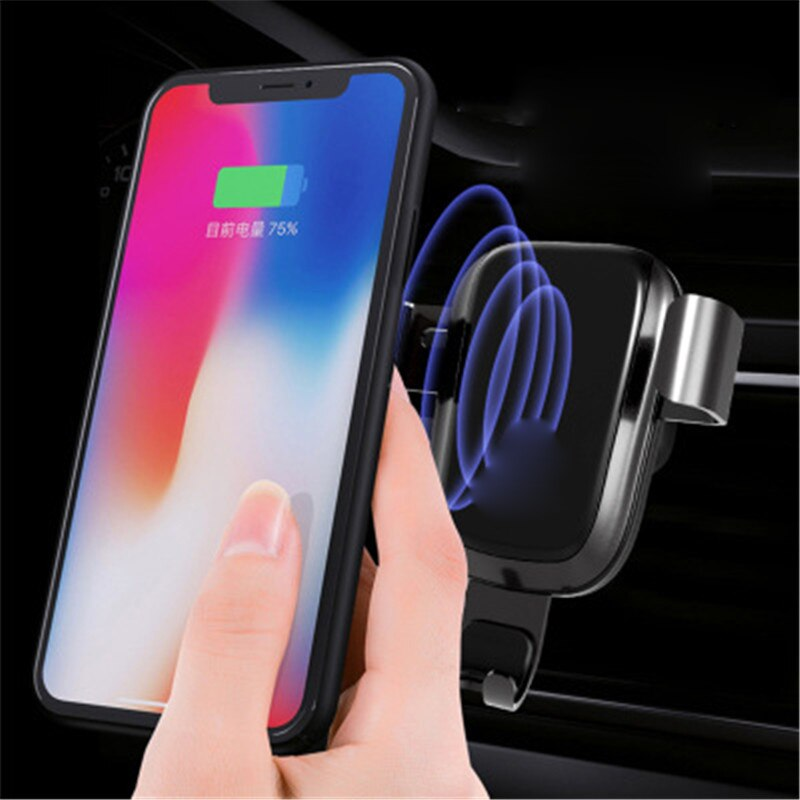 Cargador inalámbrico para montaje QI de coche para iPhone X/8/8 Plus, soporte de carga inalámbrica rápida para Samsung S9 S8 S7