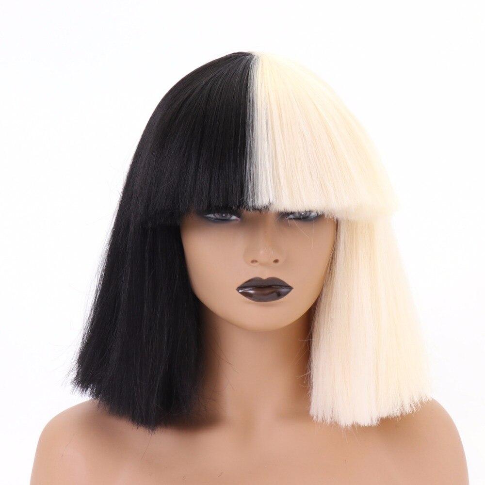 BESTUNG pelucas de Cosplay de Bob, pelucas de pelo sintético medio Rubio negro de dos Tono de Color, pelucas de pelo sintético Natural para mujeres, traje de cantante