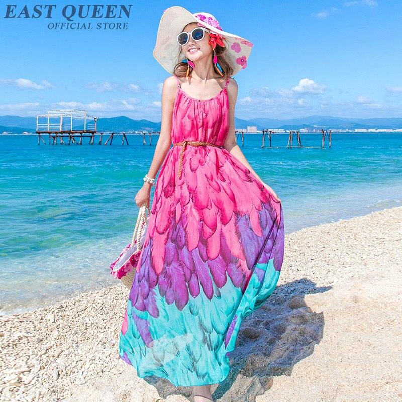 Vestido de verão 2018 boho bohemian longo vestido de verão praia túnica vestidos flores imprimir chiffon design moderno longo vestido AA3699 Y