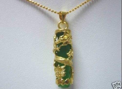 Dragón de Jade verde colgante de collar de 5.27 de calidad Superior del envío libre