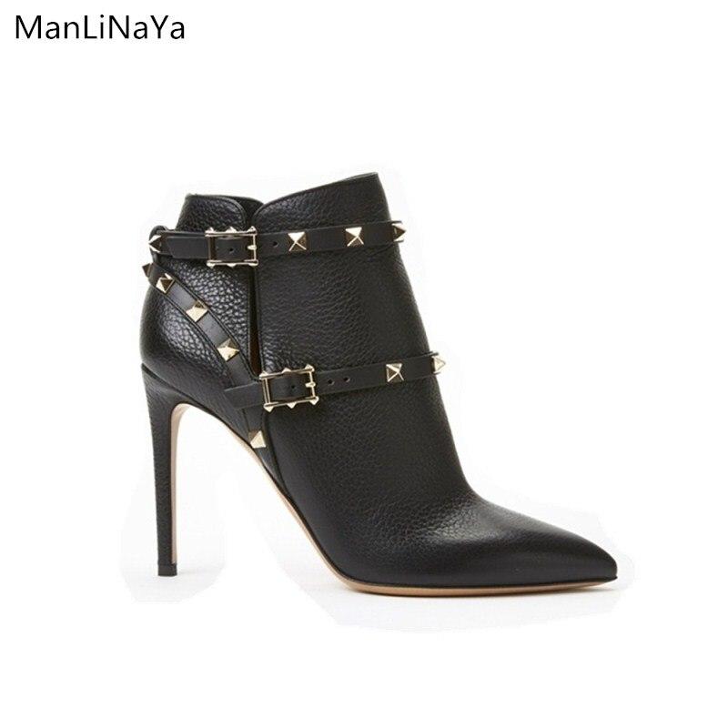 Zapatos de tacón fino con remaches, zapatos de mujer, botas de marca de diseño, botines lychee con cremallera, remache, cinturón decorativo, botas puntiagudas para mujer