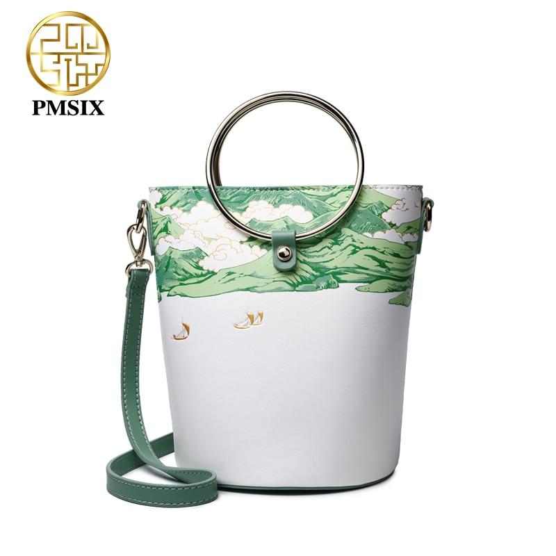 PMSIX Luxury Printed Leather Women Handbags Bags Designer Green Shoulder Bag Messenger Bags High Quality Bucket Bag