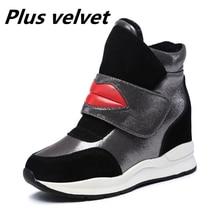 أحذية النساء إسفين كعب حذاء كاجوال السيدات الارتفاع زيادة أحذية رياضية فتاة مضخات فو الجلد المدبوغ الخريف الشتاء الأحذية أحمر الشفاه