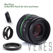 50mm f/1.8 APS-C Lens + Lens Hood + Macro Ring +16mm C Mount adapter for Nikon 1 / M4/3 /Pentax Q / Nex / Fuji/for canonM camera
