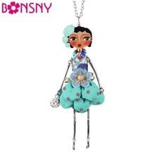 Bonsny Doll Necklace Dress Handmade Paris Doll Pendant trendy 2016 News  Alloy Girl Women Flower Fashion Jewelry Accessories