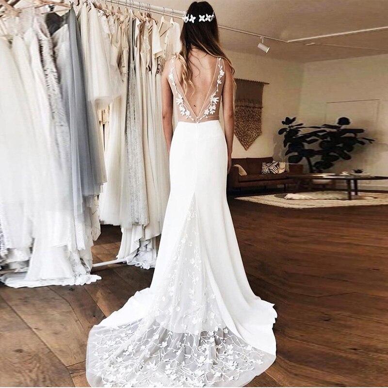 Simple Illusion Memaid Wedding Deep V-neck Lace Robe De Maria White Ivory Vestido de Noiva Bridal Dresses Beach Wedding Gown