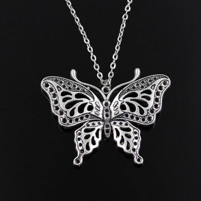 Nuevos colgantes de mariposa hueca de moda, cadena cruzada redonda, collar largo corto de plata para hombres y mujeres, regalo de joyería