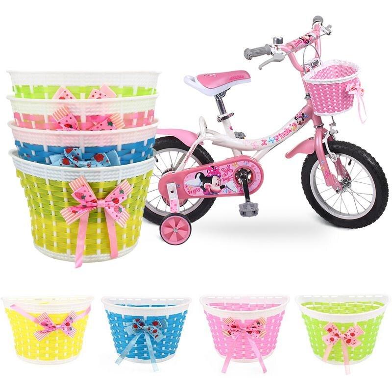 Outdoor Fahrrad Taschen Packtaschen Bowknot Vor Korb Fahrrad Zyklus Einkaufen Stabilisatoren Korb Für Kinder Kinder Mädchen