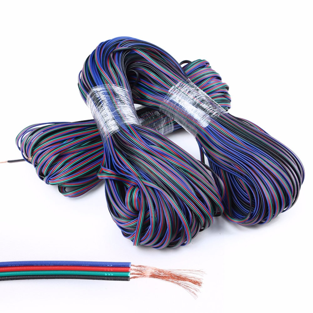 2m 5m 10M 20m 50m 4 Pin extensión RGB + Cable conector de Cable negro para DC5V Ws2801 Ws2812b DC12V 3528 5050 RGB tira de luz LED