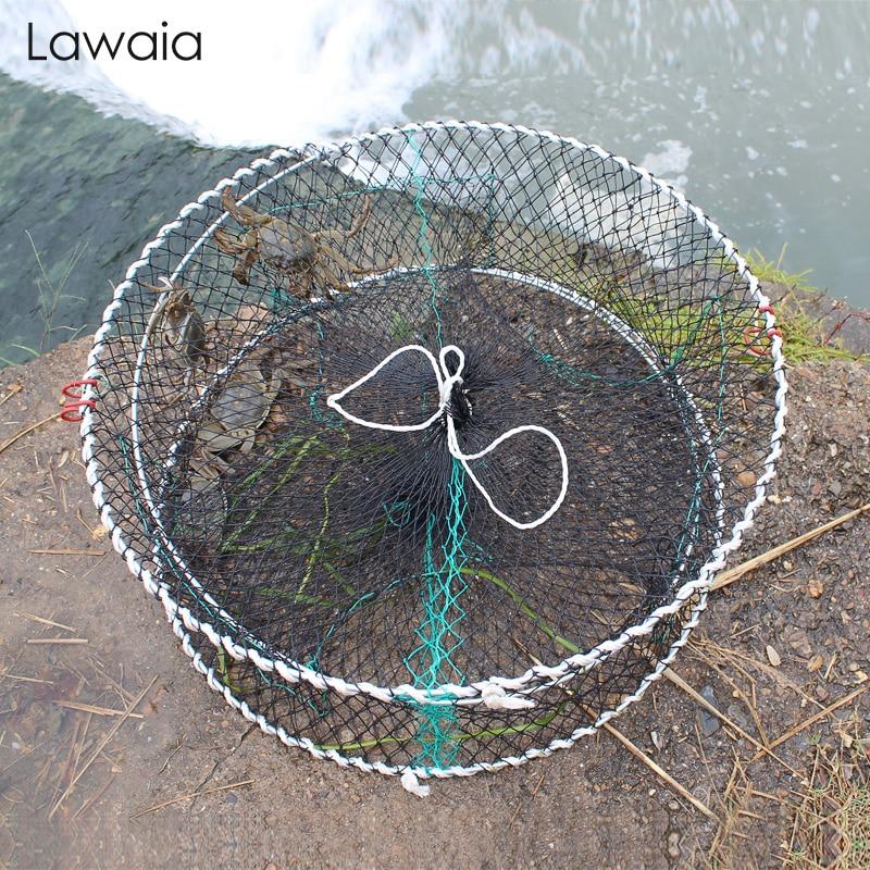 Red de cangrejo de pesca lavaia, jaula de cangrejo redonda plegable, jaula de camarón y mar, jaula de pesca de agua dulce y Río, trampa para cangrejos