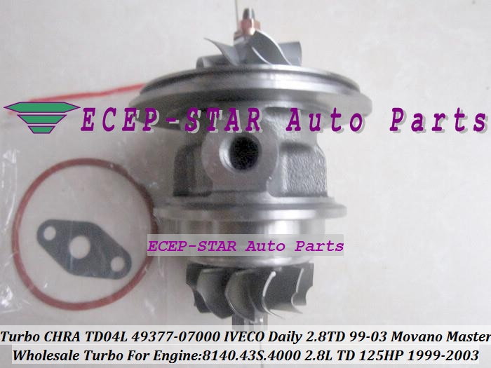 Envío Gratis cartucho Turbo CHRA TD04L 49377-07000, 454126, 751578, 53039700075, 53039700034 para IVECO Daily 99-8140,43 S 4000 2.8L