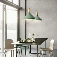 Kitche Pendant Light Bar Green Pendant Lighting Modern LED Lamp Hotel Wood Lights Room Study Office Ceiling Lamp Bulb Include