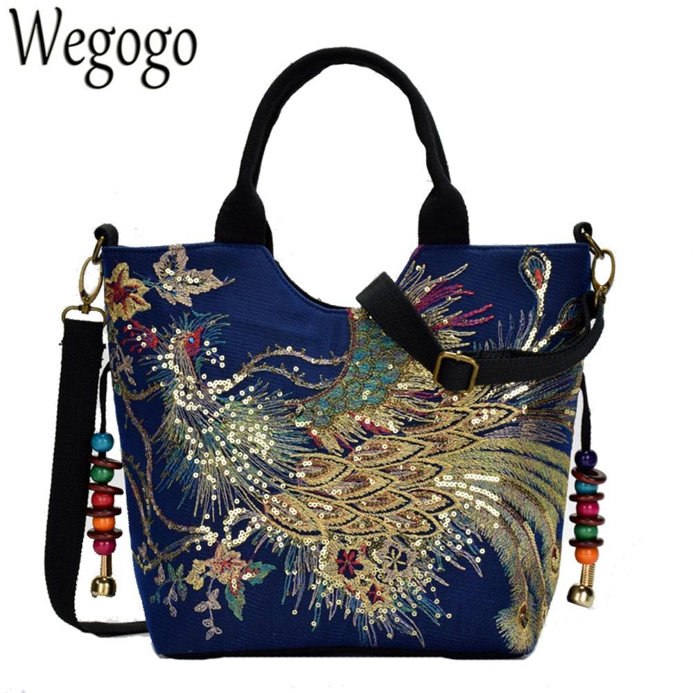 Блестящая женская Холщовая Сумка с вышивкой павлина, летняя сумка через плечо для покупок, винтажная сумка-мессенджер с бусинами