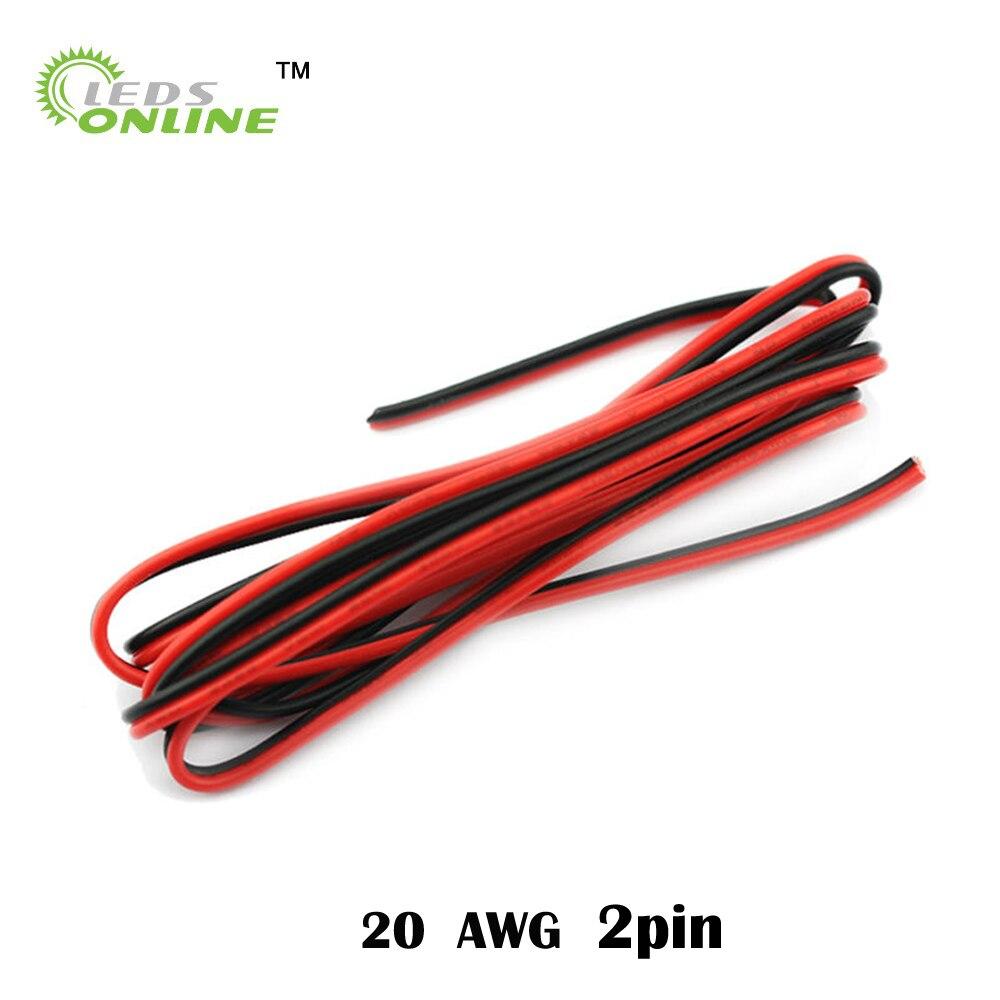 5M 10M 20M 2pin 20 AWG UL2468 2*0,5mm Cable de extensión uso para 12v 24v LED tira cinta cadena conectar Cable eléctrico