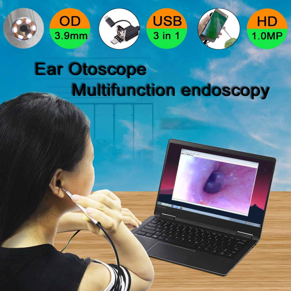 3.9mm hd 720p 3in1 usb endoscópio médico orelha otoscópio câmera endoscópio à prova dwaterproof água para otg android pc orelha endoscópio