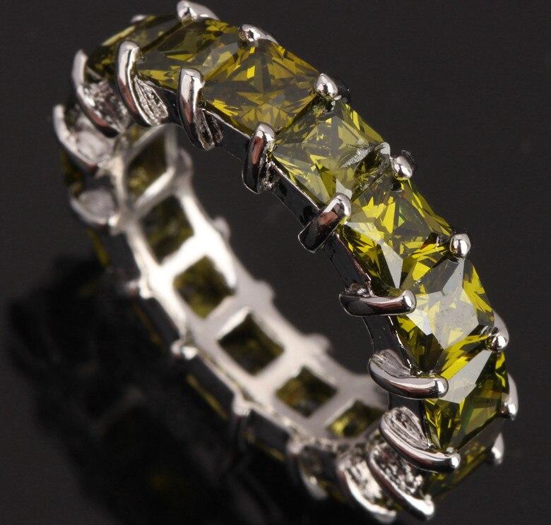 Superior 18 pçs verde peridot prata chapeado argent jóias finas venda tamanho 6 / 7 / 8 / 9 frete grátis s0465