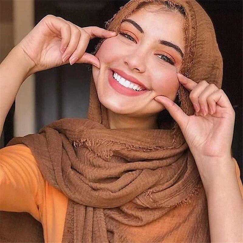 Модный женский шарф-хиджаб 2020, мягкий однотонный хлопковый головной платок, шали и накидки, мусульманские шарфы