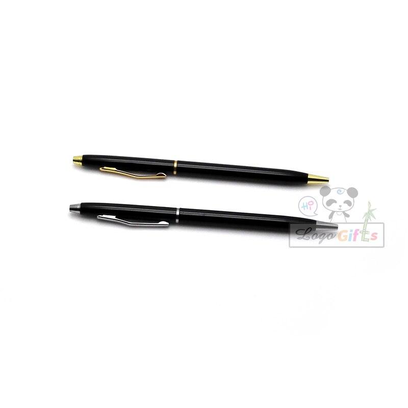 NEW BULLET Silver And Golden Clip Roller Ball Pen Business & School Supplies Hot Writing Custom Print my logo text free