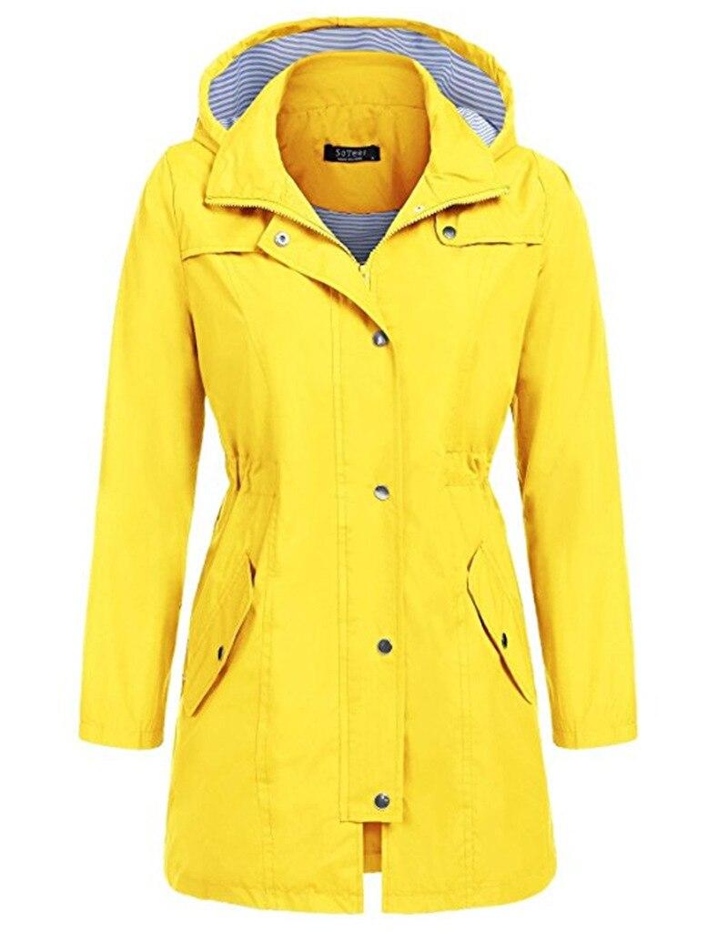 Желтое длинное пончо, дождевик для женщин, водонепроницаемый однотонный уличный женский дождевик с капюшоном, куртка, дождевик для взрослы...