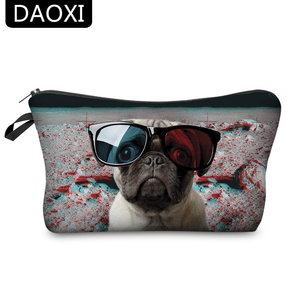 Bolsas de cosméticos DAOXI, gafas con estampado de animales en 3D, moda de perro para almacenamiento de maquillaje de mujer Travell