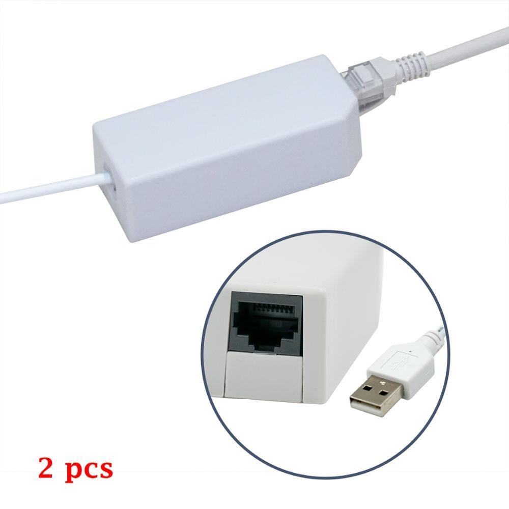 2 uds adaptador USB Lan para Nintendo para Wii U para Wii Gray para películas en Internet/juegos en línea ideal para áreas con mala señal WiFi