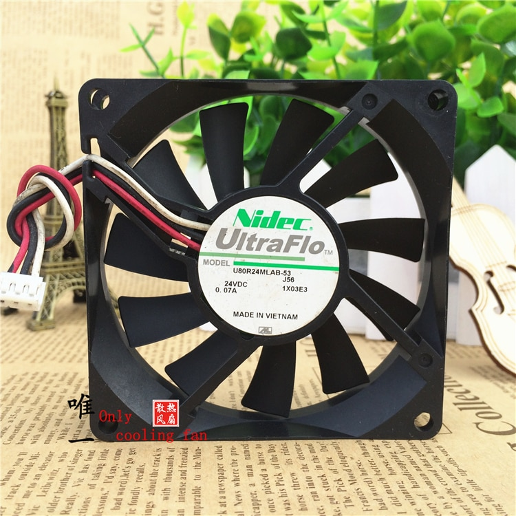 Original Nidec U80R24MLAB-53 8015 24 V 0.07A 80*80*15 MM tres alambre ventilador de refrigeración