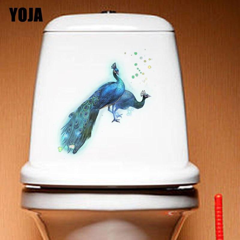 YOJA 22.1X20.4 CM Modern Art Woonkamer Home Decor Wc Decal Muur Sticker Mooie Pauw T3-1198