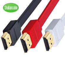 Câble HDMI haute vitesse connexion plate plaquée or avec câble hdmi noir, rouge et blanc 0.3m 1m 1.5m 2m 3m 5m 7.5m 10m 15m